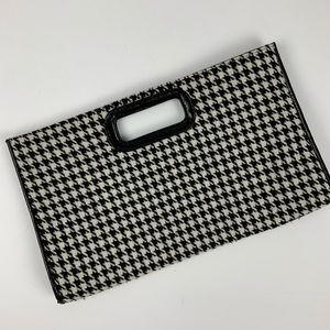 Charming Charlie Black + Ivory Houndstooth Clutch